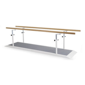 FISIOTECH Parallel Bars w/Platform – Exercise Parallel Bars w/ Adjustable Handrails for Rehab Therapy