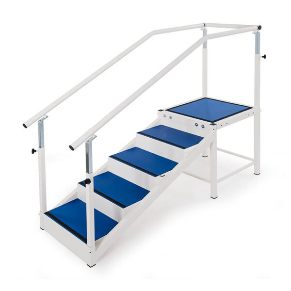 FISIOTECH Single Flight Stairs – Exercise Parallel Bars w/ Adjustable Handrails for Physical Therapy/ Post Trauma Recovery/Prosthetic Examination (132010)