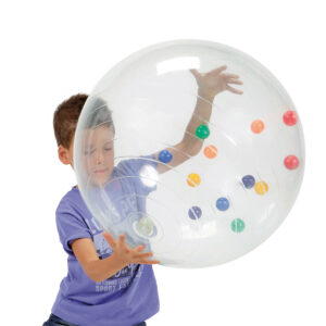 Gymnic Activity Ball / TP – Transparent, Rehabilitation Round Balls for Children w/ Tiny Colored Balls